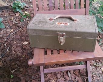 Vintage PARK Tool Box Rusty Metallic Green Storage Chest