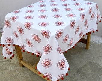Christmas table cloth, red and white color, snowflake print, 100% cotton, pompom lace, sizes available