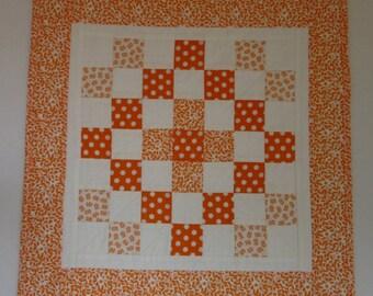 """Doll Quilt, 19.5"""" x 19.5"""", Orange, White, Dots, Trip Around the World Quilt, Free Pillow"""