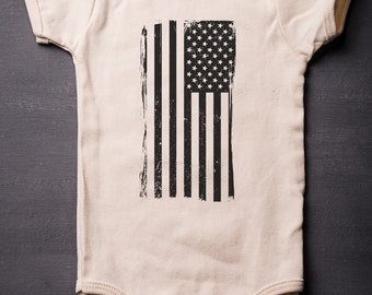 July 4th - American Flag - Baby Bodysuit - Patriotic ONESIES® - Screen Printed - Baby Clothes - MicroThreads Apparel - Patriotic Onesie