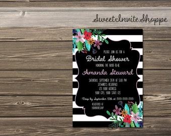 Black And White Bridal Shower Invitation, Floral Wedding Shower Invitation, Black And White Stripes Invitation, Black White Flowers Invite