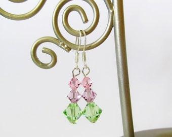 Swarovski Crystal Bicone Earrings - Handmade Sterling Silver Earrings - Beaded Stacked Pastel Green / Purple / Pink Crystal Earrings