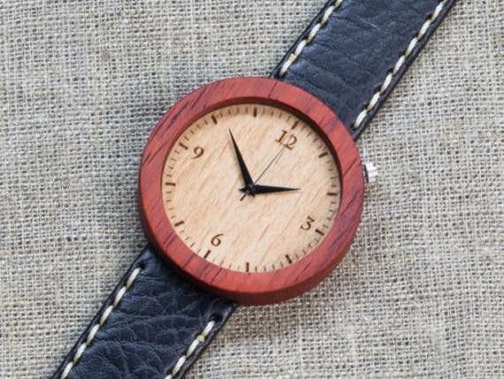 African Padauk minimal wood watch , Majestic Watch,  Black and White  Genuine Leather strap + Any Engraving / Gift Box. Anniversary  gift