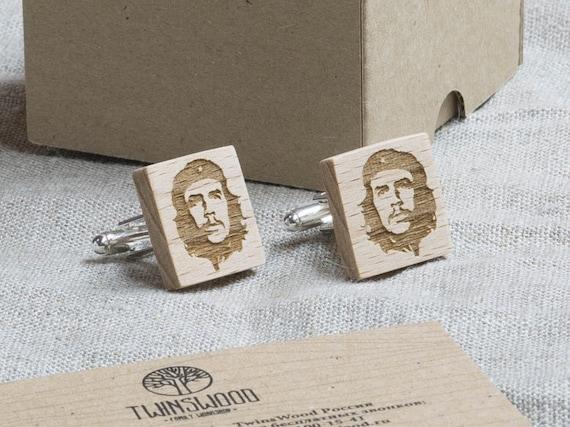 Сhe Guevara  Wood Cufflinks. Personalized CuffLinks. Laser Engraved Monogrammed Initial Wooden Cufflinks. Сustom cufflinks. Groomsmen Gift