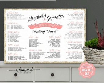 Custom gold foil wedding reception guest seating chart poster seating chart printable file only seating chart poster seating plan find your solutioingenieria Choice Image