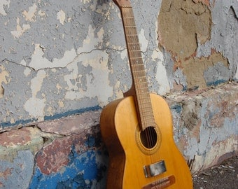 Vintage acoustic guitar made master Ershov, Moscow Musical Instruments Factory, guitar artisans, Soviet Vintage, 1983, Collectible