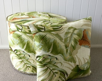 Tommy Bahama Tropical  palm Leaf Ottoman/ Pouf/ Floor Cushion  / Cushion Cover - Banana Leaf