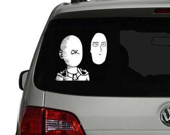 Indoor/Outdoor Ok One Punch Man Face Saitama Permanent Vinyl sticker decal Meme