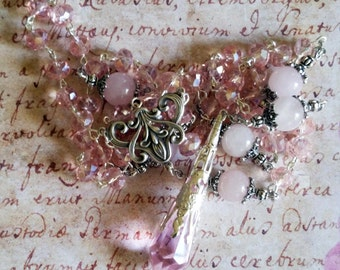 Pagan Prayer Beads - Lovely Pink Witches Rosary with Rose Quartz and Czech glass beads