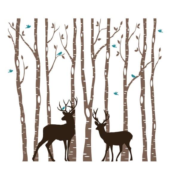 SALE 9 Birch Vinyl Trees Doe & Buck Deer Wall Decal Woodland Animals Forest 3 colors Birds Vinyl Sticker Nursery Tree