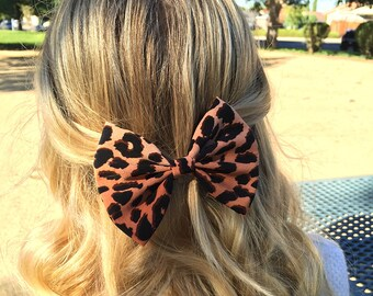 "4.5"" Leopard hair bow, cheetah bow, animal print bow, brown and black hairbow, hairbows for teens girls, brown hair bows for women"