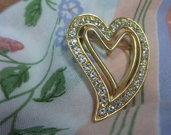 Heart Vintage Gold Rhinestone Brooch Pin Vintage Heart Rhinestone Brooch Pin Double Heart Lapel Pin Rhinestone Double Heart Scarf Pin