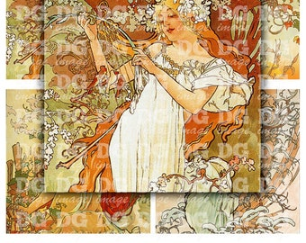 Alphonse Mucha 4x4 inch tiles Art Nouveau Digital Collage Sheet for Coasters Magnets Greeting Cards Scrapbooking Stickers Instant Download