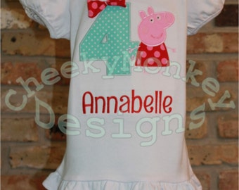 Free Mask! PIG Birthday Shirt Personalized Applique tee bow pepper peppy name any no number party gift short long sleeve set outfit