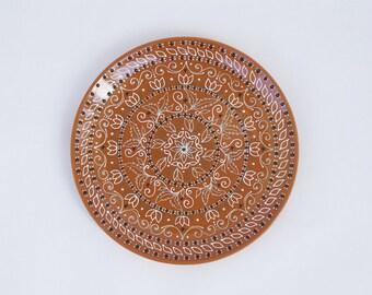 Orange decorative plate - Fall plate - Wall plate - Unique decor - Wall decor
