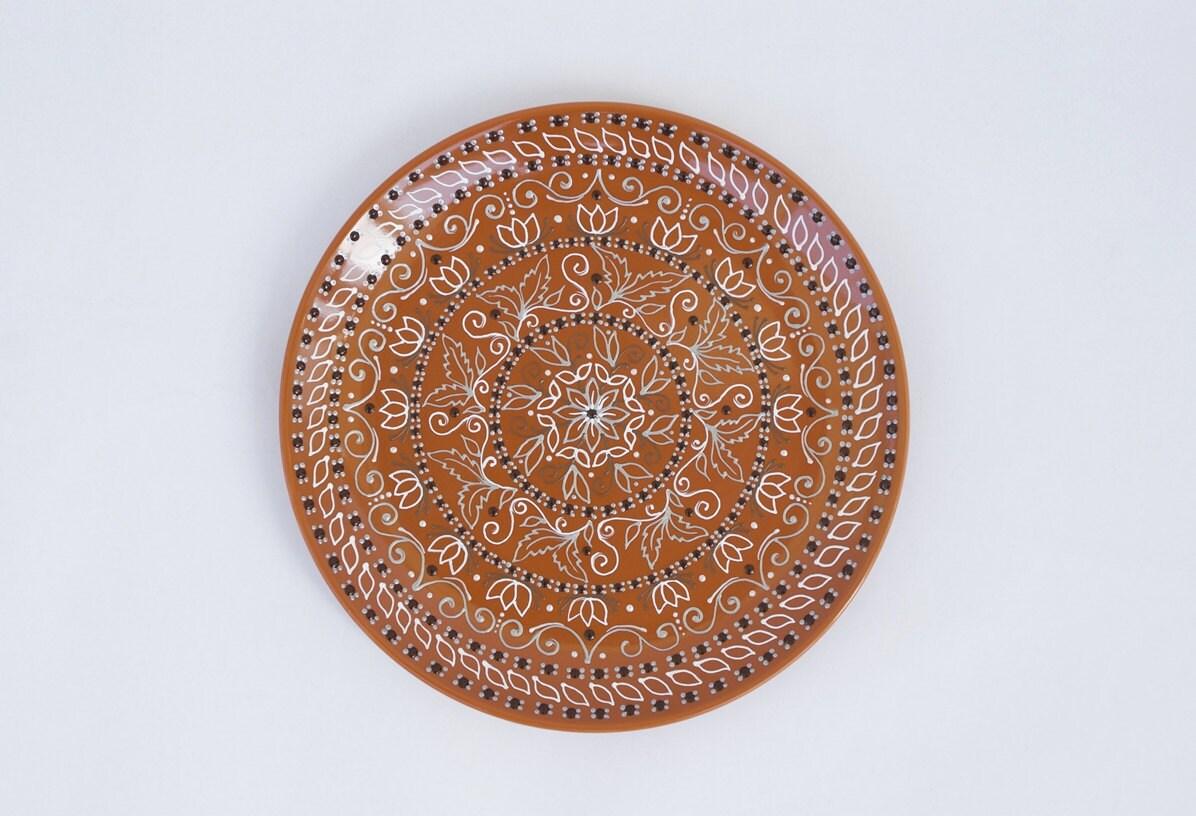 Decorative Wall Plates : Orange decorative plate fall wall unique
