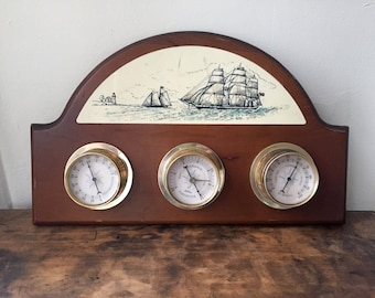 Vintage Weather Station with Scrimshaw Style Nautical Illustration Made by Sunbeam