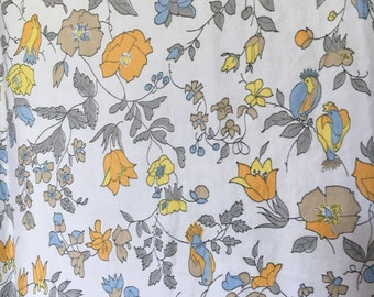 Vintage Cotton Fabric with Bird and Flower Print, c. 1950s (34 inches x 1-2/3 yards)