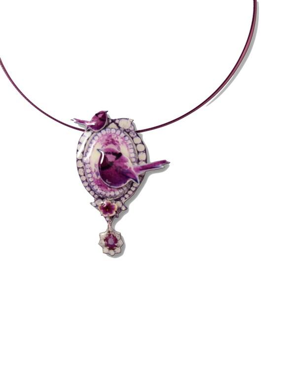 Modern ornate Victorian cameo pendant, Neo Baroque pink bird choker