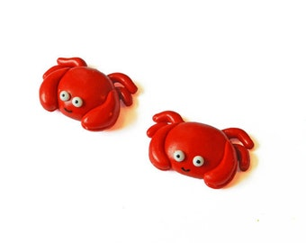 Crab Magnets - Animal Magnets - Summer Decoration - Kitchen Magnets - Polymer Clay Magnets - Beach Magnet - Fridge Magnet - Kawaii Magnet