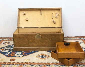 Brass Bound Trunk with Engraved Brass Plate