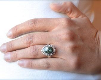 Antiqued Seraphinite Ring