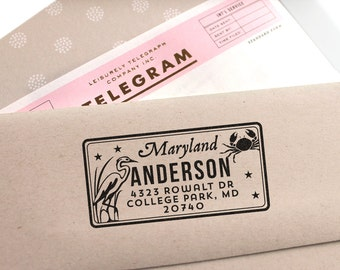 Custom Maryland License Plate Return Address Stamp for weddings, housewarming parties and as a customized gift for holidays