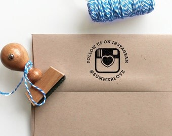 Custom Social Media Rubber Stamp with a heart and the Instagram Icon for your business or personal feed, Self Inking option