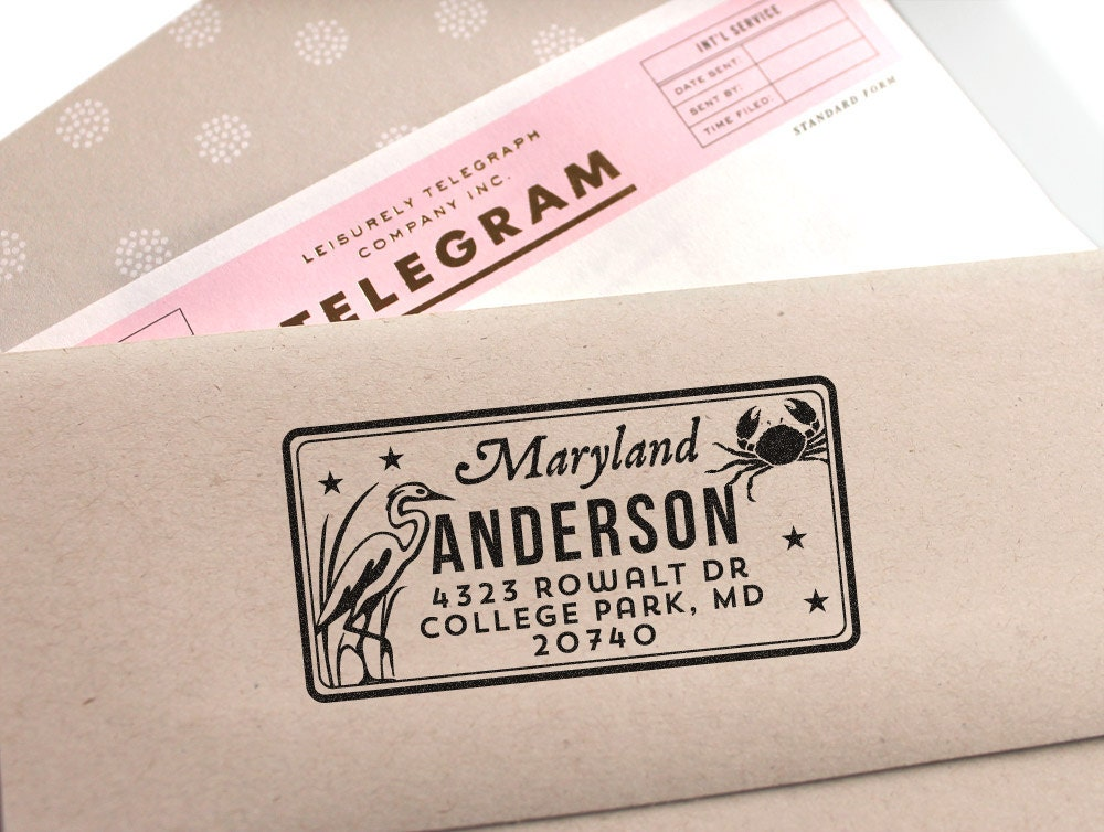 Custom maryland license plate return address stamp for - Return gifts for housewarming party ...