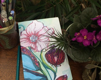 Bohemian, Floral, Lined, blank notebook, Boho Journal