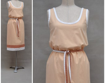 Vintage dress, 1980's summer shift dress, Cute orange tone dress with striped hem detail and matching belt, 80's sleeveless sundress
