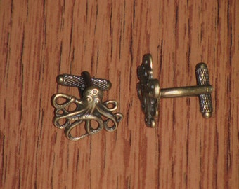 Steampunk Bronze Octopus Cufflinks - Please Pay by PayPal