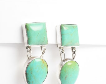 Southwest Native American Sterling Silver Blue-Green Turquoise  Earrings Clip On