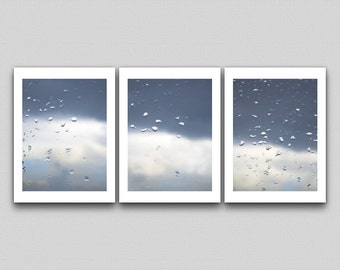 Photography Print Set, Large Print, Minimalist Photography, Rain Storm, Contemporary Photography, Neutral Colors, Triptych print set