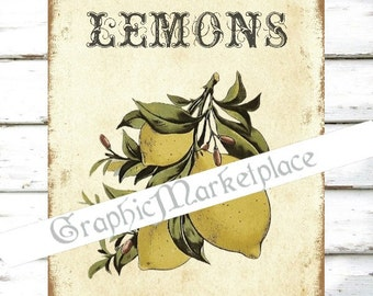 Lemons Fruits Citron Digital Country Grapefruits Transfer Download Burlap Linen digital graphic printable graphic No. 109