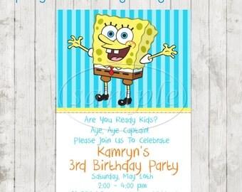 Spongebob Birthday Party Invitations - Spongebob Party-Spongebob Birthday-Spongebob Invitations-Kids Birthday Invitaions-Kids Birthday Party