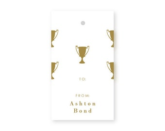 Birthday Gift Tags, Trophy, Set of 10, Sports