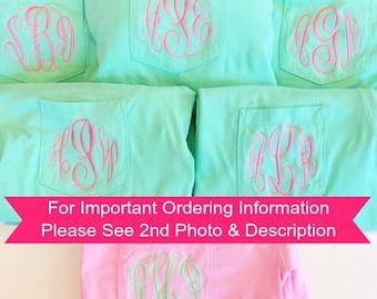 Monogram Bridesmaids Shirts - Pocket T-Shirts - Monogram Bridesmaids - Short Sleeve