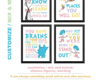 dr seuss pictures set of 4, dr seuss prints, cat in the hat nursery wall art, dr suess nursery, dr seuss quotes, dr suess kids wall decor