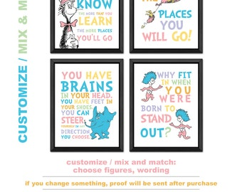 dr seuss wall decor, dr seuss prints PRINT/CANVAS/DIGITAL, oh the places you will go, the more that you read, you have brains, why fit in