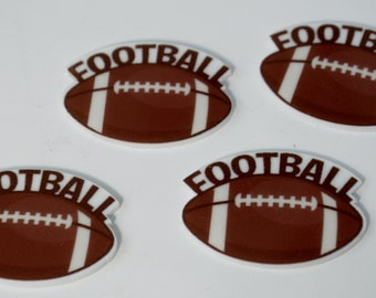 Football Brown Sports Party Ball Cup Cake Toppers Planar Resin Cabochon Flat back Embellishments Inspired az7985