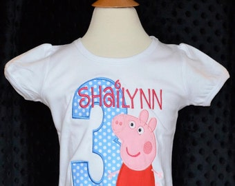 Personalized Girl Pig Birthday Applique Shirt or Onesie Girl or Boy