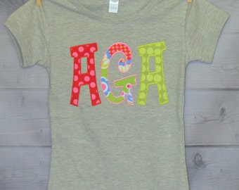 Personalized Initial Applique Shirt or Onesie Girl
