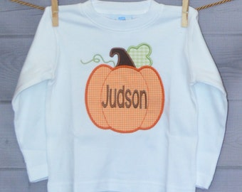 Personalized Pumpkin with Initial Applique Shirt or Onesie for Boy or Girl