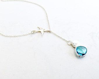 Aqua Lariat Swallow Lariat Personalized Lariat 925 sterling silver lariat Aqua Jewelry Bird Lariat Bird jewelry Bird Necklace Aqua Lariat