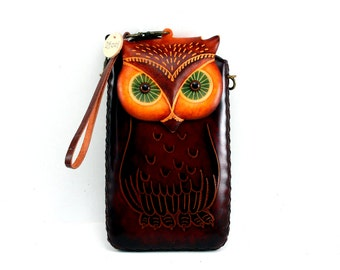 XXL Leather OWL Cell Phone Case with cross body strap