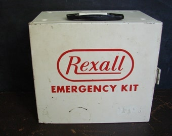 Rexall Emergency Kit First Aid Box Medicine Chest with Drawers Akron Mills Industrial Decor