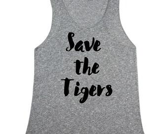 Save the Tigers Tank Top - Tiger tank top for Women - Tiger Tanks - Womens Heather tiger shirts - XS, Small, Medium, Large, XL, 2X