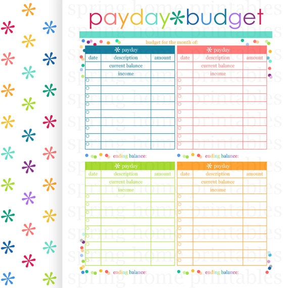 Payday Budget Budget Planner Printable By Springhomeprintables