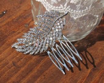 Metal Leaf Haircomb, Small Brooch Haircomb, Crystal Haircomb, Bridal Headpiece, Bridal Accessories, Rhinestone Headpiece, Clear Crystal